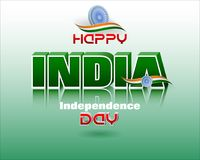 Celebration of India, Independence day, national holiday. Holiday design, background with 3d texts, national flag colors and spinning wheel, for fifteenth of Royalty Free Stock Images