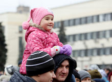 Celebration of the International Day of Solidarity in Donetsk on Stock Photography