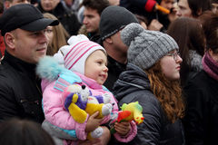 Celebration of the International Day of Solidarity in Donetsk on Royalty Free Stock Photos