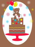 Celebration or invitation. Celebration or a invitaion card with a cute little bear Stock Photography