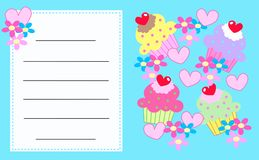Celebration or invitation card. With cupcakes and hearts Royalty Free Stock Photos