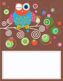 Celebration or invitation card. With a colorful owl Royalty Free Stock Images