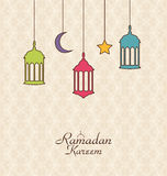 Celebration Islamic Card with Arabic Hanging Lamps for Ramadan K Royalty Free Stock Photography
