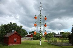 Celebration of Juhannus in Jan Karlsgarden. On Aland islands Stock Images