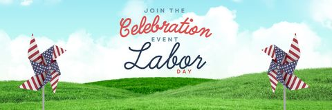 Celebration labor day text and USA wind catchers in front of grass and sky Stock Photos