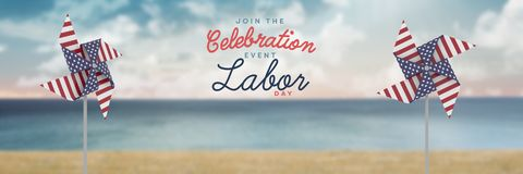 Celebration labor day text and USA wind catchers in front of sea Stock Image