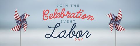 Celebration labor day text and USA wind catchers in front of sky Stock Photos