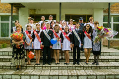 The celebration of the last bell in a rural school in Kaluga region in Russia. Stock Image