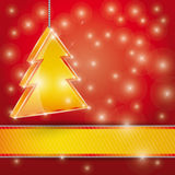Celebration light  background with ribbon and  Christmas tree. Vector Stock Photos