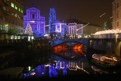 Celebration Lights. Beautiful new year's decoration in the city ov ljubljana Royalty Free Stock Photos