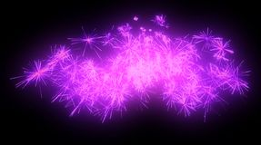 Celebration: lilac festive fireworks at night. Over black Royalty Free Stock Image