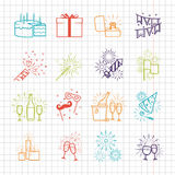 Celebration line icons with drinks, garland and fireworks stock illustration