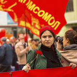During the celebration of May Day in the centre of Moscow. Communist party supporters take part in a rally marking the May Day. Royalty Free Stock Photos