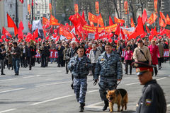 During the celebration of May Day in the centre of Moscow. Communist party supporters take part in a rally. Stock Photos