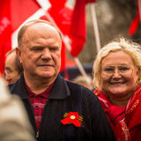 During the celebration of May Day in the centre of Moscow. Gennady Zyuganov Royalty Free Stock Photo