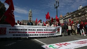 During celebration of May Day in the city centre. General Confederation of Portuguese workers. stock footage