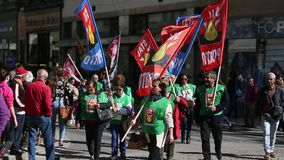 During celebration of May Day in the city centre. General Confederation of Portuguese workers stock video footage