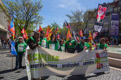Celebration of May Day in the Oporto centre. Royalty Free Stock Photos
