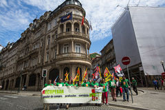Celebration of May Day in the Oporto centre. Stock Image