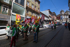 Celebration of May Day in the Oporto centre. Stock Photo