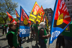 Celebration of May Day in the Oporto centre. Stock Photography