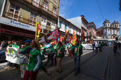 Celebration of May Day in the Oporto centre. Stock Images