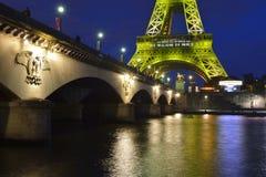 The Eiffel Tower illuminated stock photos