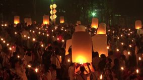 Celebration with more than a thousand floating lanterns. stock video footage