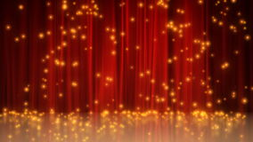 Celebration motion background. CG stage with red curtain background and particles, fireworks. 1920x1080 full HD stock video footage