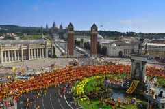 Celebration of the National Day of Catalonia in Barcelona, Spain Royalty Free Stock Photo