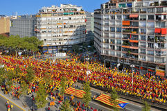 Celebration of the National Day of Catalonia in Barcelona, Spain Royalty Free Stock Image