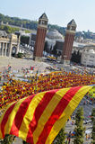 Celebration of the National Day of Catalonia in Barcelona, Spain Stock Photo