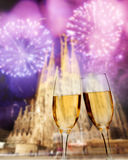 Celebration of the New Year in Barcelona, Spain. Sagrada Familia with fireworks, celebration of the New Year in Barcelona, Spain Royalty Free Stock Images