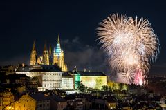 Prague firework. Celebration of New Year in centre in Prague with fireworks over Prague Castle royalty free stock photos