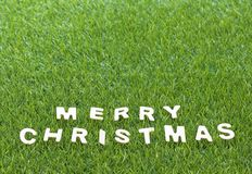Christmas wood alphabet on green grass. Celebration of New year and Christmas, Top view Christmas alphabet wood on green grass background Stock Photography