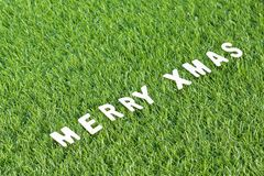 Christmas wood alphabet on green grass. Celebration of New year and Christmas, Top view Christmas alphabet wood on green grass background Stock Photo