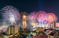 Celebration of New year day with colorful fireworks on Chao Phraya riverside with Iconsiam building landmark of Bangkok. City stock image