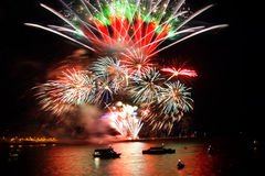Celebration of the new year, firework over the sea Royalty Free Stock Images
