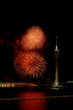 Celebration of New Year with fireworks Royalty Free Stock Photography