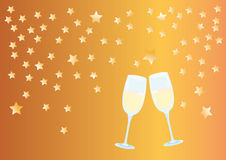 Celebration of the New Year with a glass of champagne Royalty Free Stock Photos