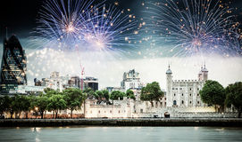 Celebration of the New Year in London, UK Royalty Free Stock Photo