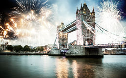 Celebration of the New Year in London, UK. Tower bridge with firework, celebration of the New Year in London, UK Royalty Free Stock Photography