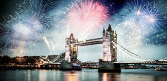 Celebration of the New Year in London, UK. Tower bridge with firework, celebration of the New Year in London, UK Royalty Free Stock Image