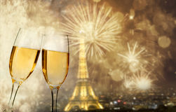 Celebration of the New Year in Paris, France Stock Photo