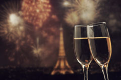 Celebration of the New Year in Paris, France Stock Image