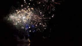 Celebration new years eve with firework on the night sky. Celebration new years eve with firework on the night sky stock footage