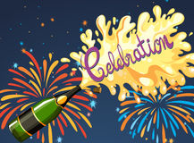 Celebration night with firework and champagne Royalty Free Stock Photos