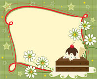 Celebration Note. A festive banner with a brownie and daisies. Eps10 Stock Photos