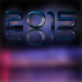 Celebration 2015 numbers on top. Reflection. Theme: Fireworks. 2015 numbers purple background dominant. Various shades. Lights and shadows. Theme: fireworks Royalty Free Stock Image
