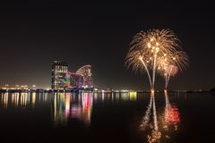 Free Celebration Of UAE National Day With Fireworks Over The Festival Royalty Free Stock Photo - 105392775